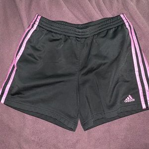 Adidas shorts with pink stripes